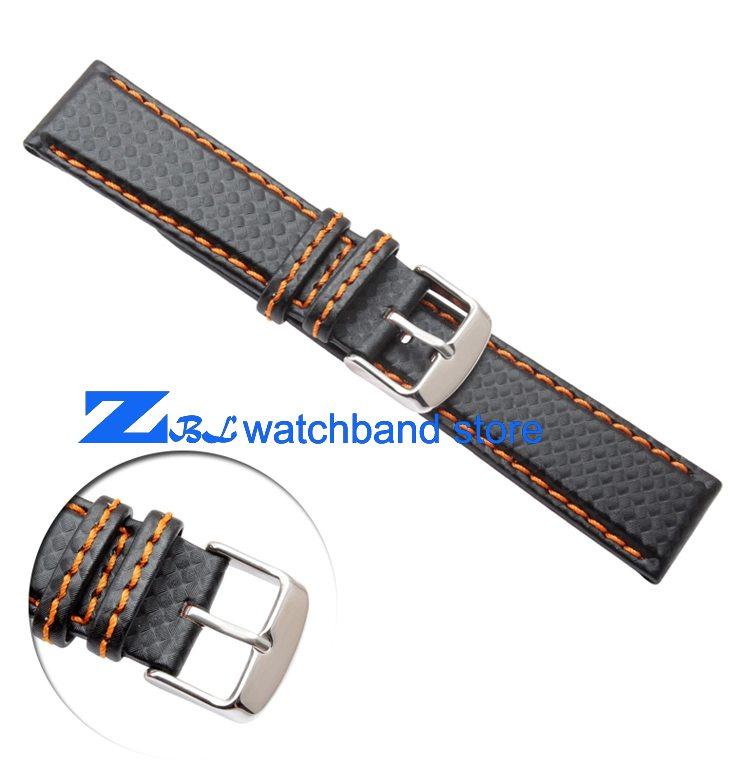 Carbon Fiber strap Quality Waterproof Watchband bottom is genuine leather orange line soft straps 20 22mm watch accessories 0 0
