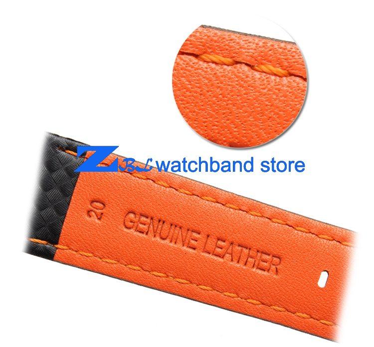 Carbon Fiber strap Quality Waterproof Watchband bottom is genuine leather orange line soft straps 20 22mm watch accessories 0 1