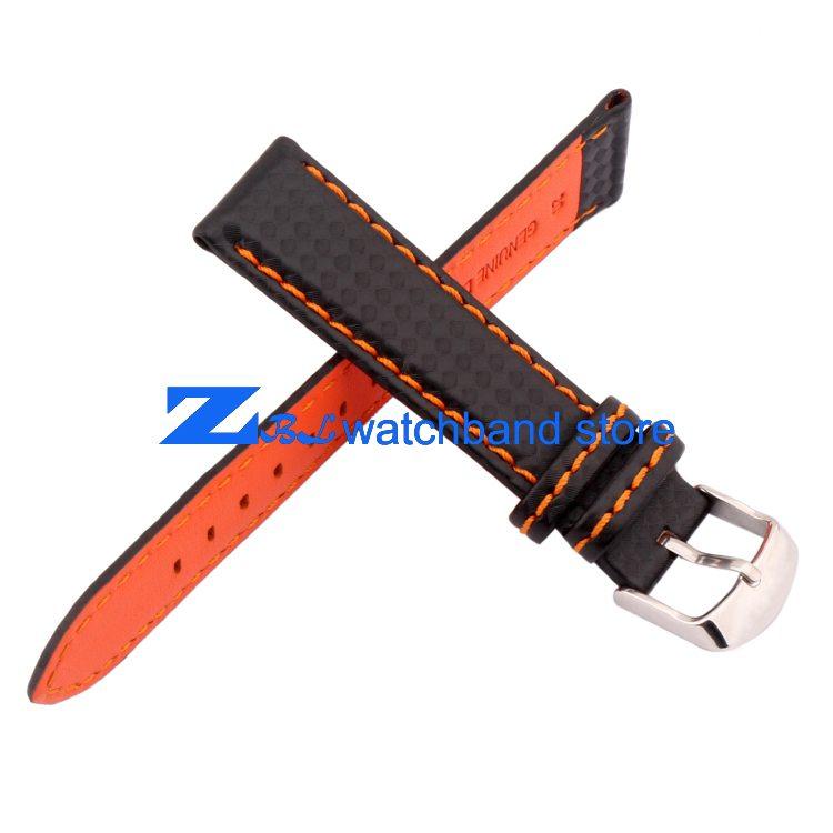 Carbon Fiber strap Quality Waterproof Watchband bottom is genuine leather orange line soft straps 20 22mm watch accessories 0 2