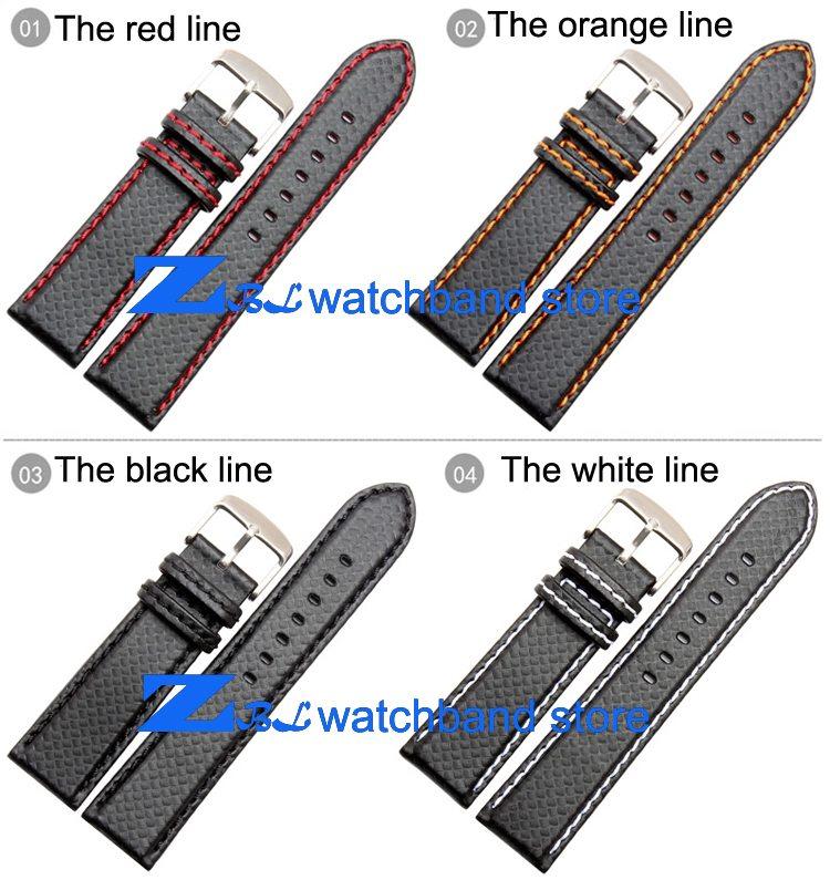 Carbon Fiber strap Quality Waterproof Watchband bottom is genuine leather orange line soft straps 20 22mm watch accessories 0 3