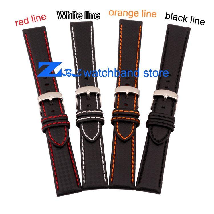 Carbon Fiber strap Quality Waterproof Watchband bottom is genuine leather orange line soft straps 20 22mm watch accessories 0 4