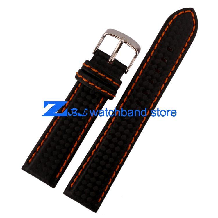 Carbon Fiber strap Quality Waterproof Watchband bottom is genuine leather orange line soft straps 20 22mm watch accessories 0