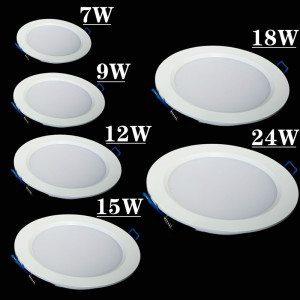 Free shipping 7w/9W/12W/15W/18W/24w led panel lighting ceiling light DownlightAC85-265V , ,Warm /Cool white,indoor lighting