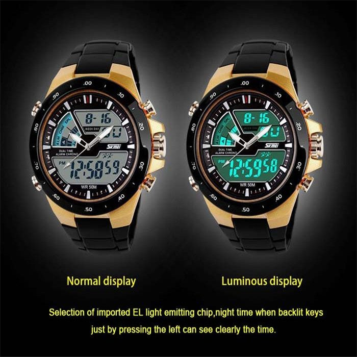 New 2014 men sports watch Quartz LED Dual Movt DayDate Design Round Dial Steel watch Fashion Colorful Light military watches 0 0