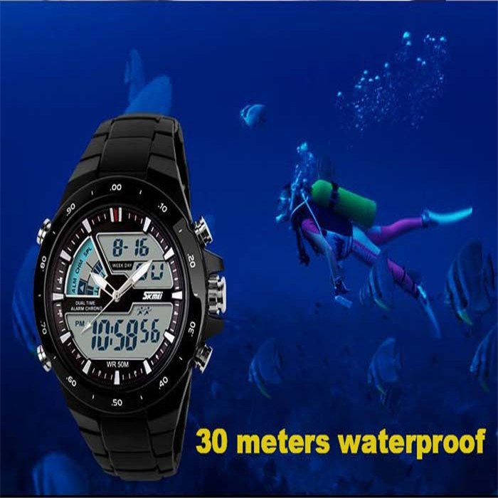New 2014 men sports watch Quartz LED Dual Movt DayDate Design Round Dial Steel watch Fashion Colorful Light military watches 0 1