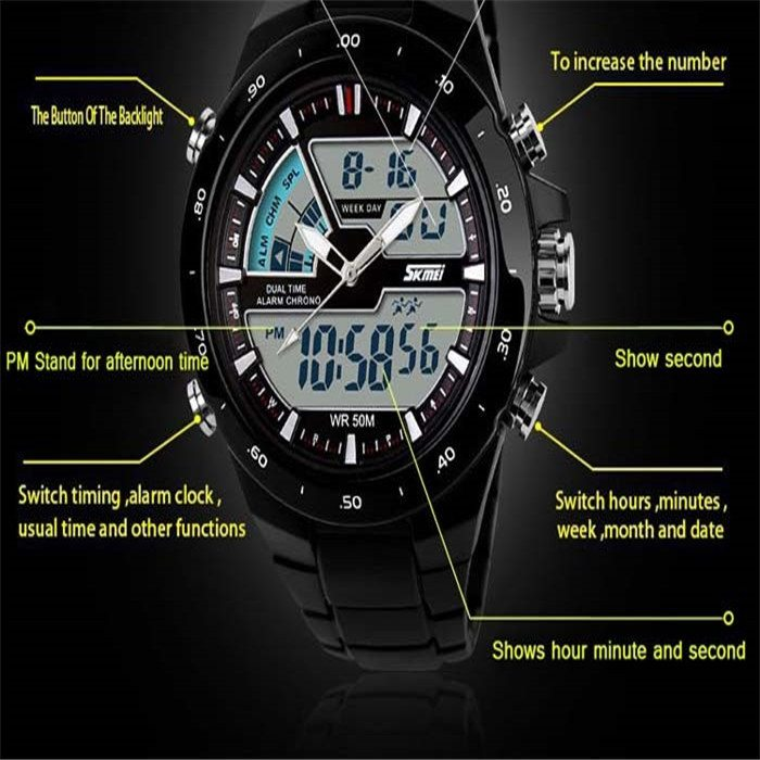 New 2014 men sports watch Quartz LED Dual Movt DayDate Design Round Dial Steel watch Fashion Colorful Light military watches 0 2