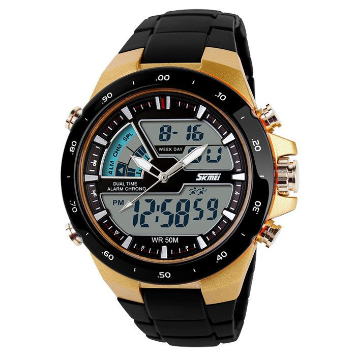 New 2014 men sports watch Quartz LED Dual Movt DayDate Design Round Dial Steel watch Fashion Colorful Light military watches 0