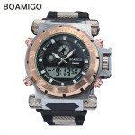 Super luxury BOAMIGO brand Men military sports watches Dual Time Quartz Digital Watch rubber band wristwatches 0
