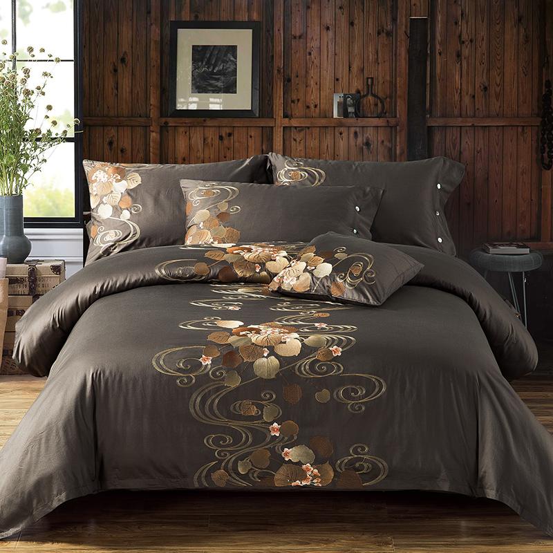 Paljudes värvitoonides 4-osaline puuvillane voodipesukomplekt