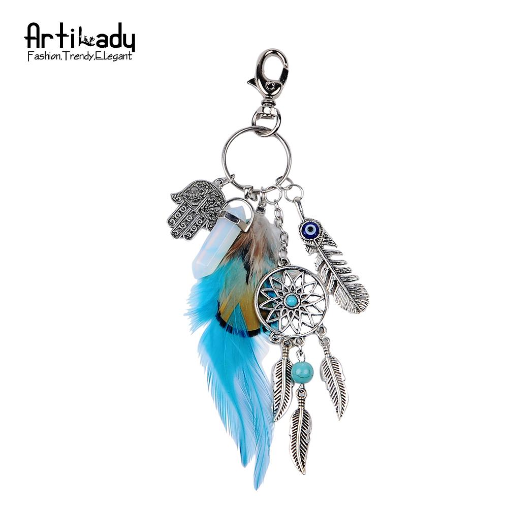 Opaaliga ja sulekestega kaunistatud ripats/võtmehoidja
