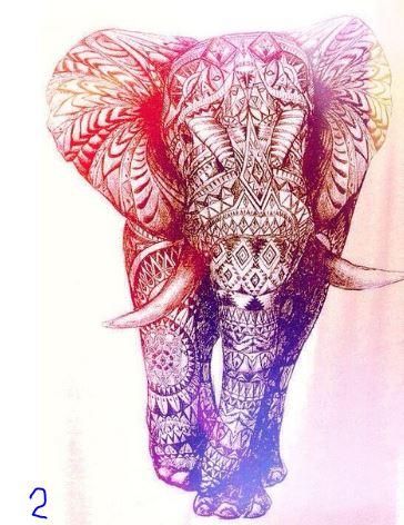 Joonistatud elevantidega tekid