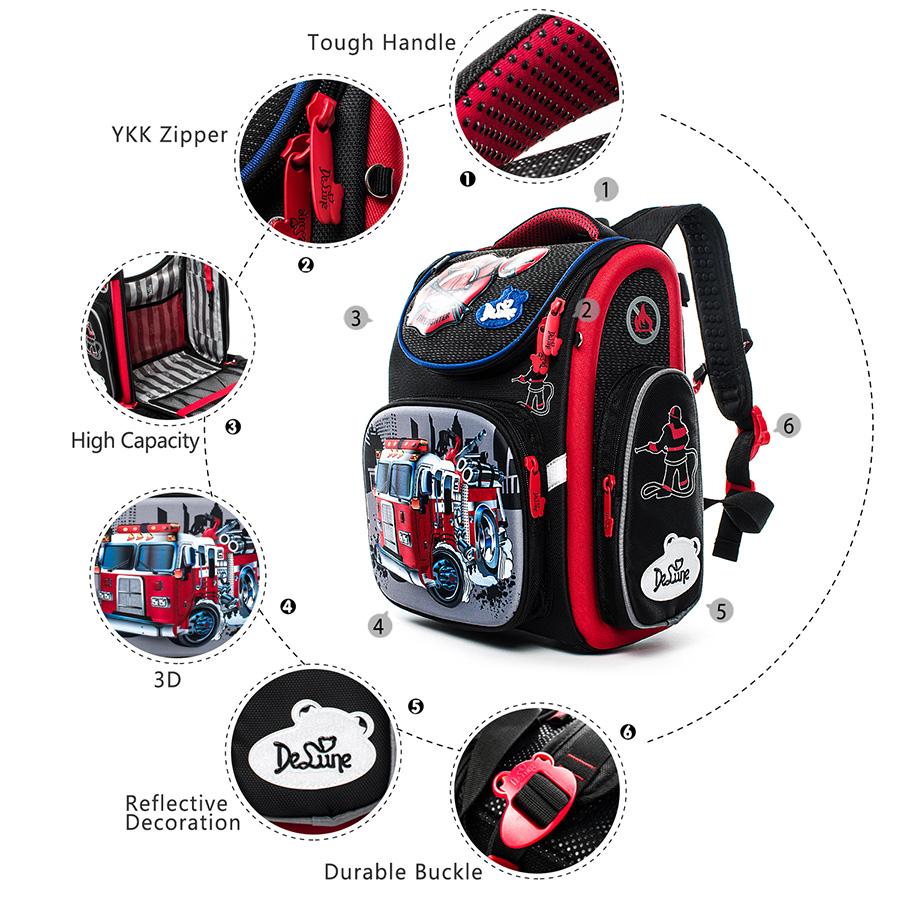 cf092d611cd delune Brand 1-3 grade orthopedic school bags pattern for boys cars ...