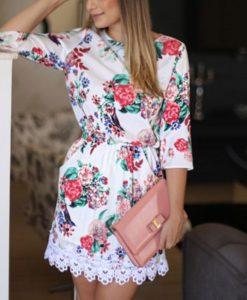Valge lilleline minikleit