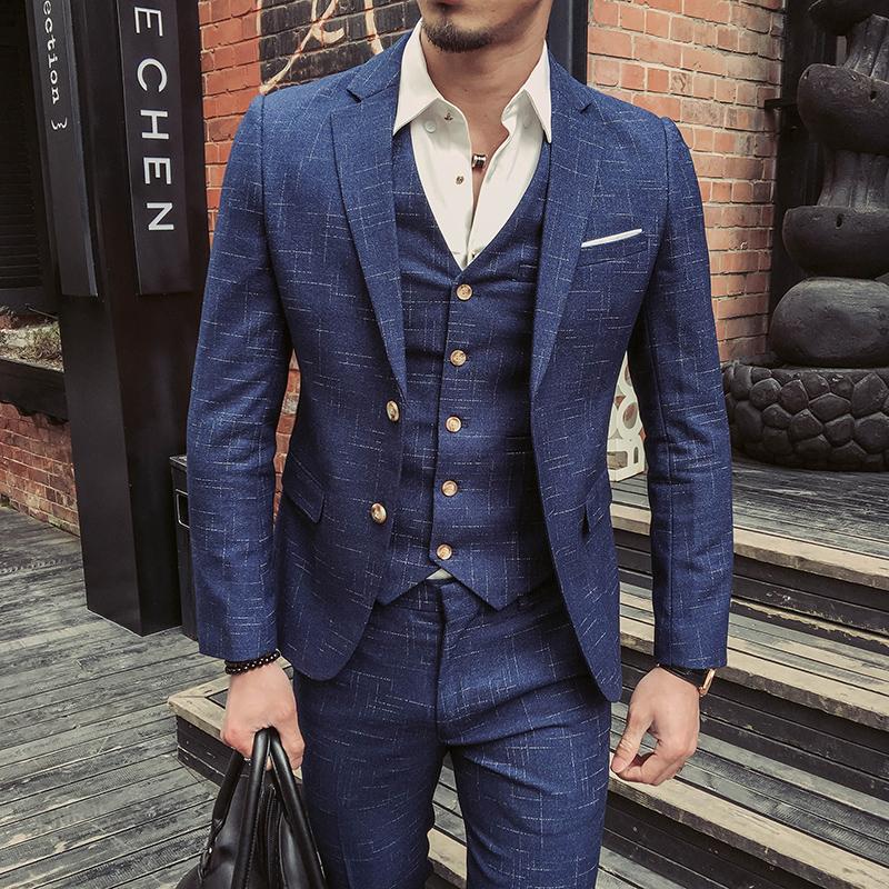ed011fae8f8 Sinine kolmeosaline ülikond meestele