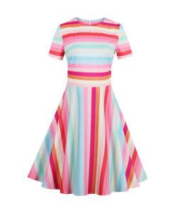 Kevadiselt triibuline kleit