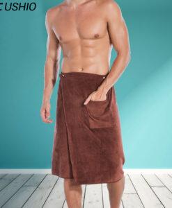 Taskuga saunarätik meestele