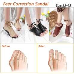 Women PU Leather Shoes Comfy Platform Flat Sole Ladies Casual Soft Big Toe Foot Correction Sandal