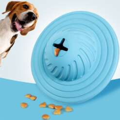 Rubber Dog Puppy Toys Rolling Flying Discs Chew Toys Leakage Food Play Dog Ball Interactive Teething