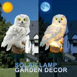 LED Solar Power Lamp Vivid Owl Bird Shape Outdoor Garden Sculptures Waterproof Bird Resin Yard Sculptures Garden Decor Lighting