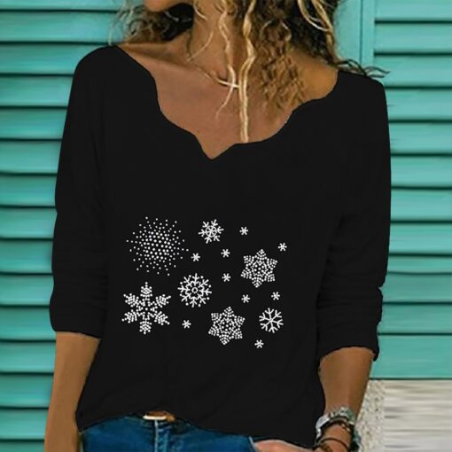 40 Women Diamond Embroidery Lace T shirts autumn winter Collar Long Sleeve Pullover V Neck T 1