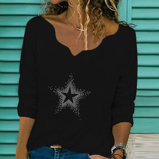 40 Women Diamond Embroidery Lace T shirts autumn winter Collar Long Sleeve Pullover V Neck T 2