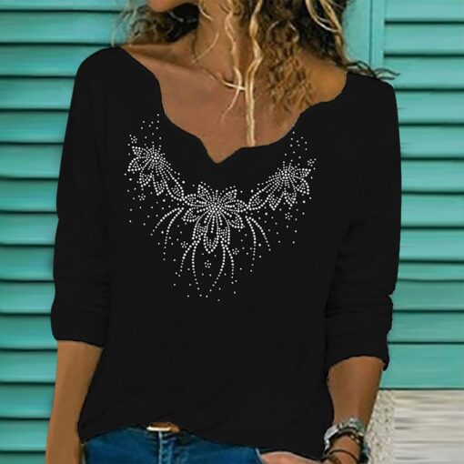 40 Women Diamond Embroidery Lace T shirts autumn winter Collar Long Sleeve Pullover V Neck T