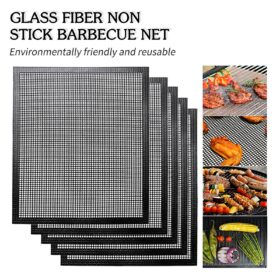 Heat resistant Barbecue Net Silicone Baking Pan Mat Hollow Gr id Grilling Mat Bbq Mesh Grill